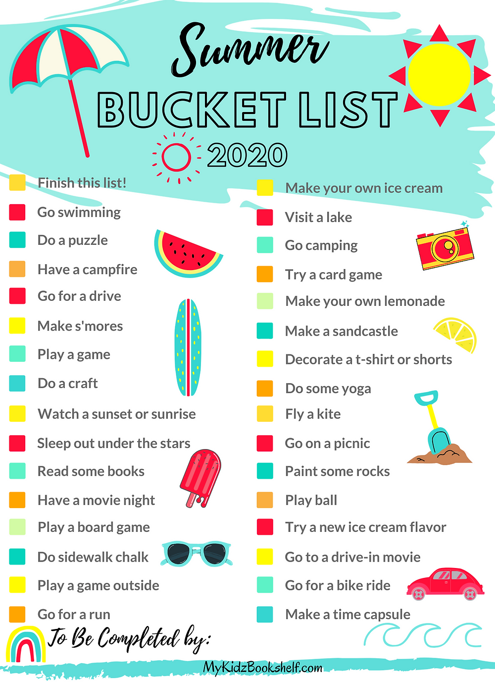 Summer Bucket List 2020 free printable with sun, umbrella, watermelon and other fun summery icons.