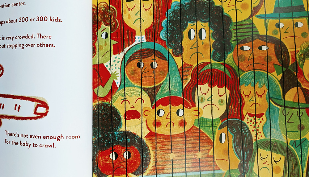 Hear My Voice picture book about children detained at southern border shows illustration of children in detention facility