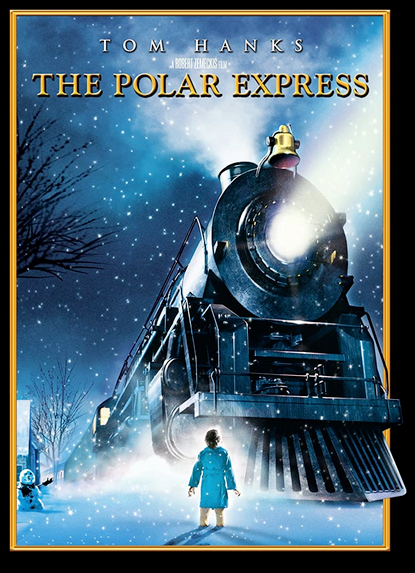 DVD cover The Polar Express with Tom Hanks shows a train with a small child standing in front