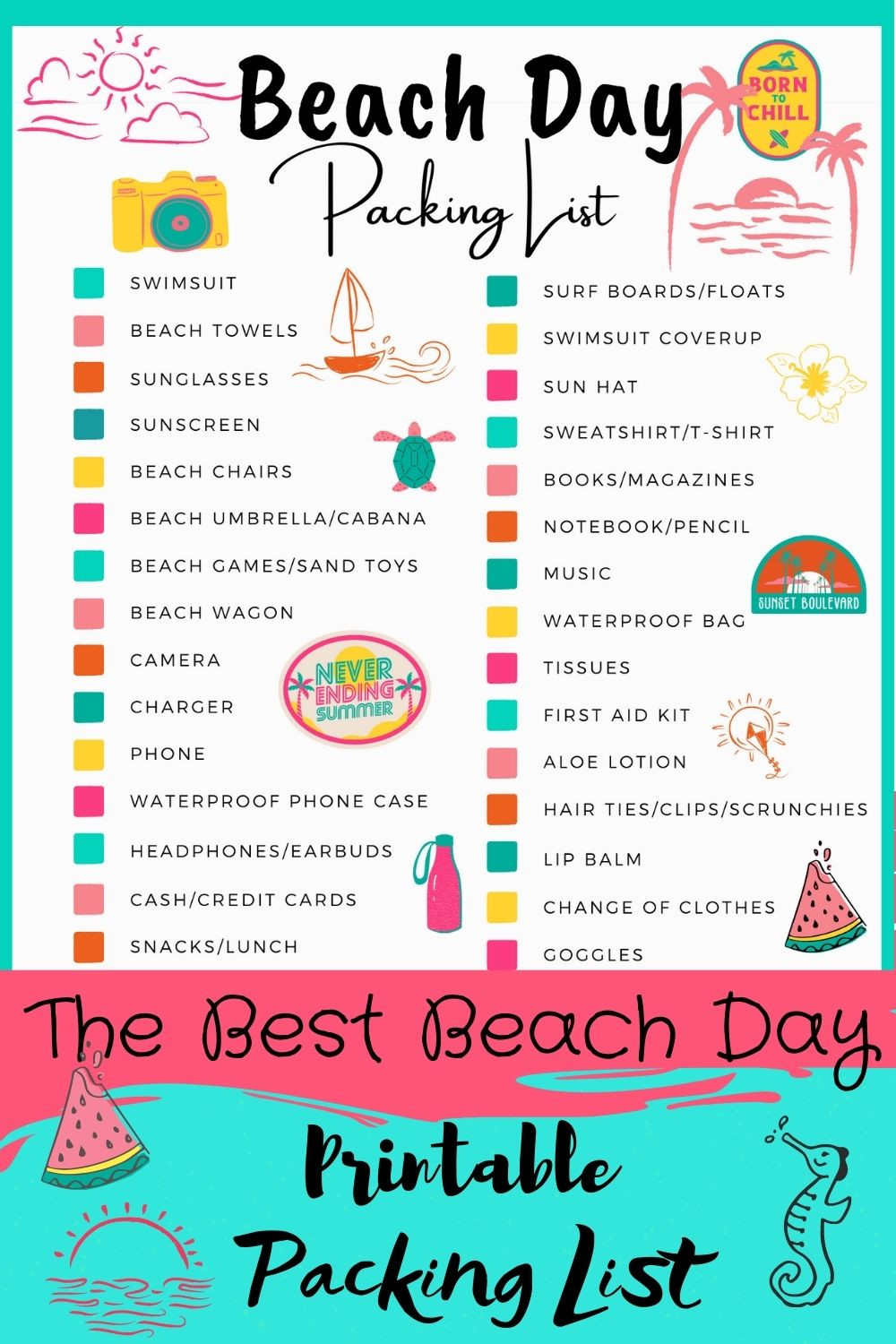 Beach Day Packing List Fun Best kids help get read list for getting ready to have fun colorful printable