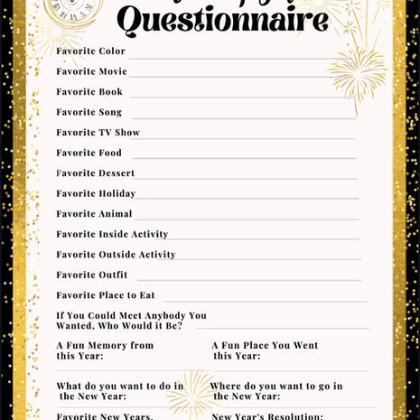 New Year's Time Capsule Questionnaire Printable