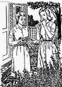 Line drawing illustration of Nancy Drew and Hannah Gruen holding a pigeon and reading a small note standing outside