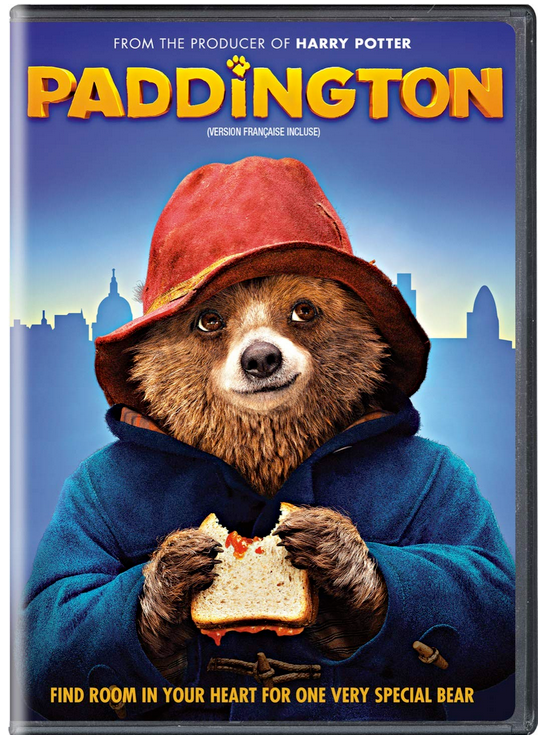 Paddington dvd cover shows Paddington Bear eating a marmalade sandwich