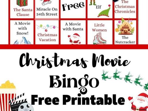 Christmas Movie Bingo Free Printable for a Fun Family Film Night!
