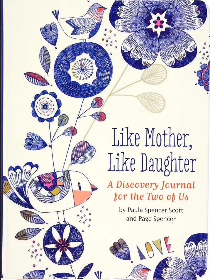 Book cover for Like Mother, Like Daughter Journal has illustrated birds and flowers on the cover