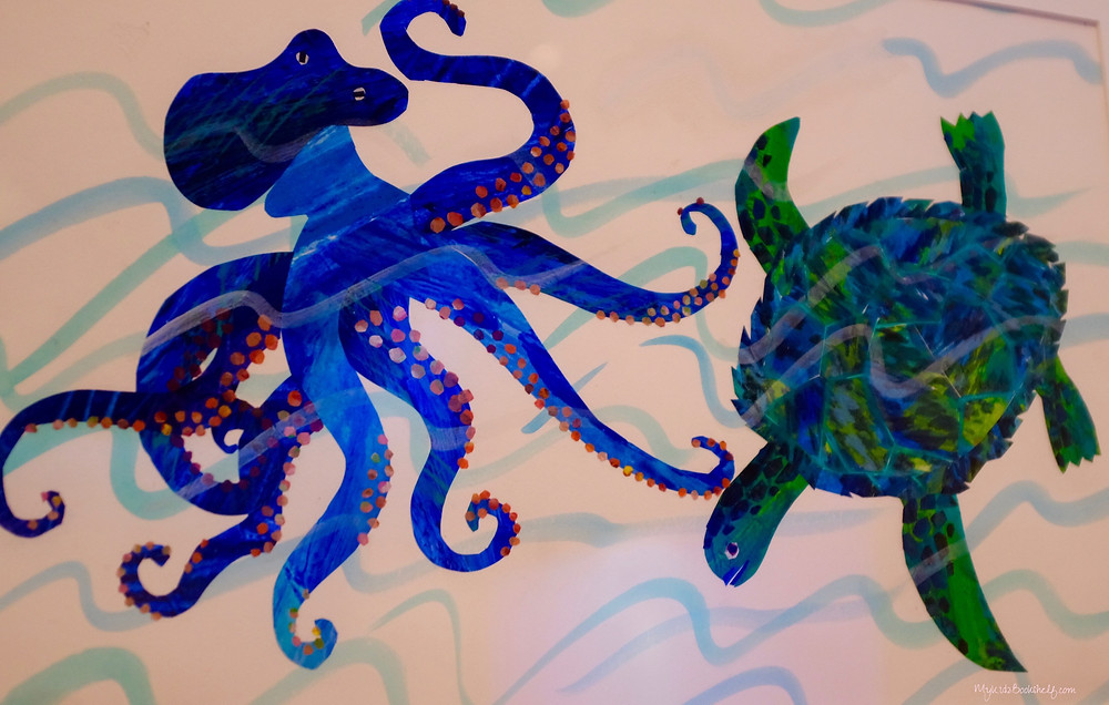 Eric Carle's illustrations at The Eric Carle Museum of Picture Book Art shows an octopus and sea turtle