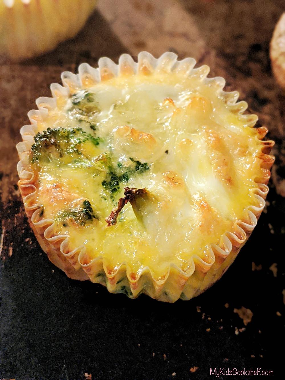Broccoli cheddar mini crustless quiche made in a muffin tin