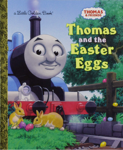Thomas the train on track with bunnies and easter eggs around