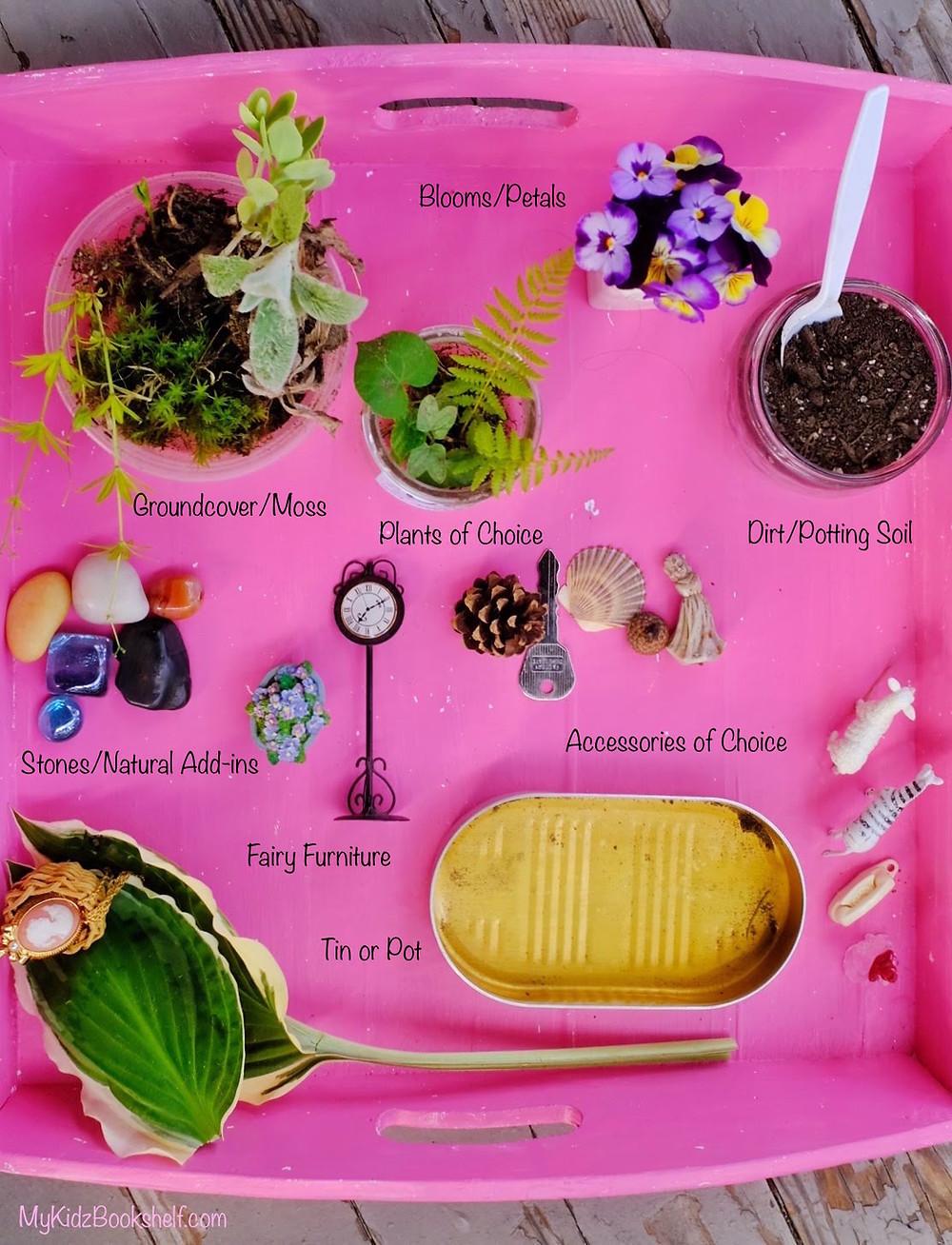 Mini Fairy garden DIY items needed moss, plants, blooms, tin, stones,