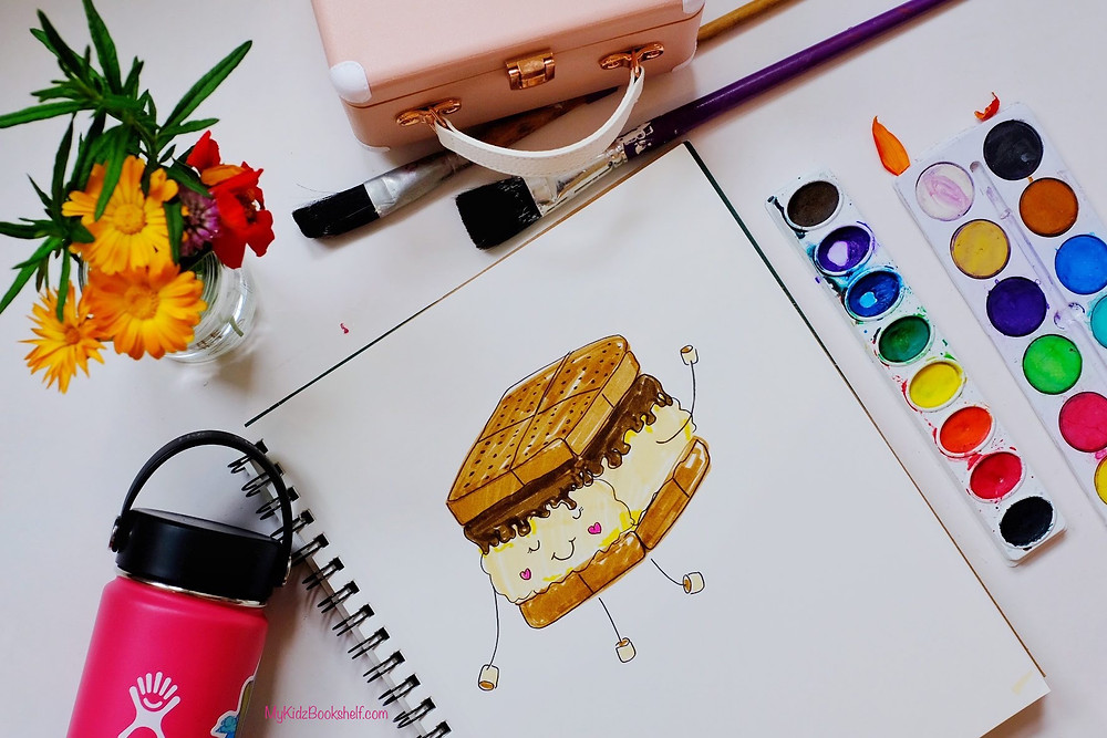 How to Draw S'more diy tutorial with art supplies, Muzen radio, marshmallows and Hydroflask