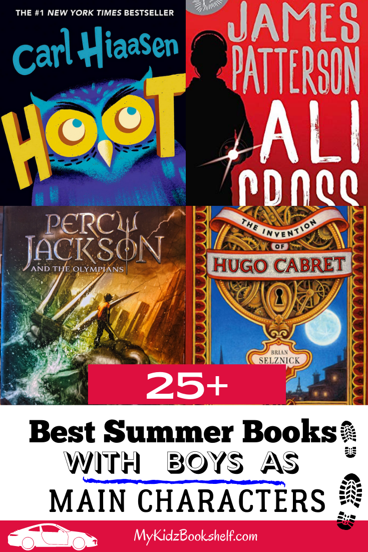 Pinterest pin showing books that feature boys- Hoot, Ali Cross, Percy Jackson and Hugo Cabret