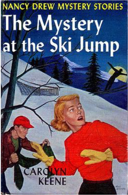 woman on snowy hill with skier in background at night time while man with baseball cap lurks in background
