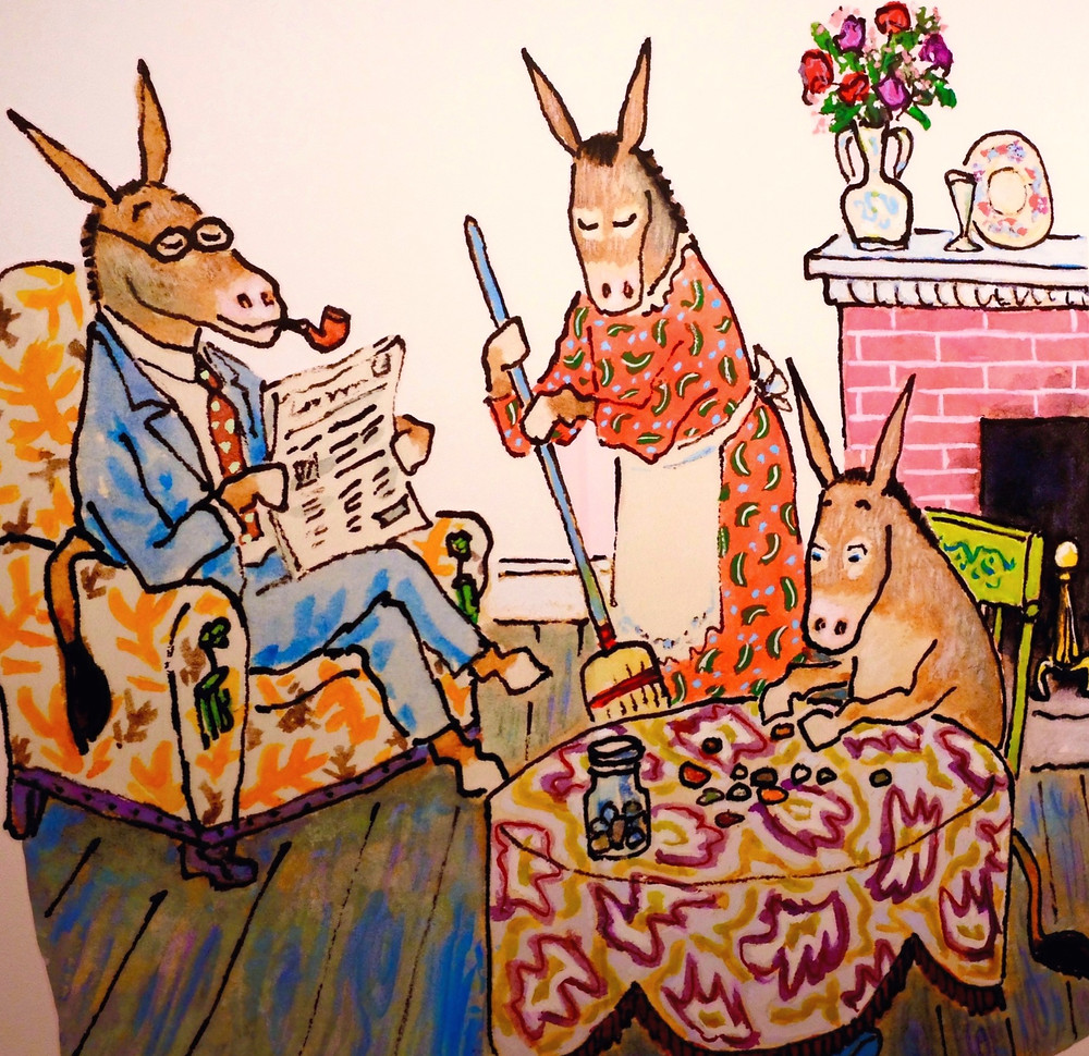 Illustration from Sylvester and the Magic Pebble - Donkey parents and Sylvester in the living room
