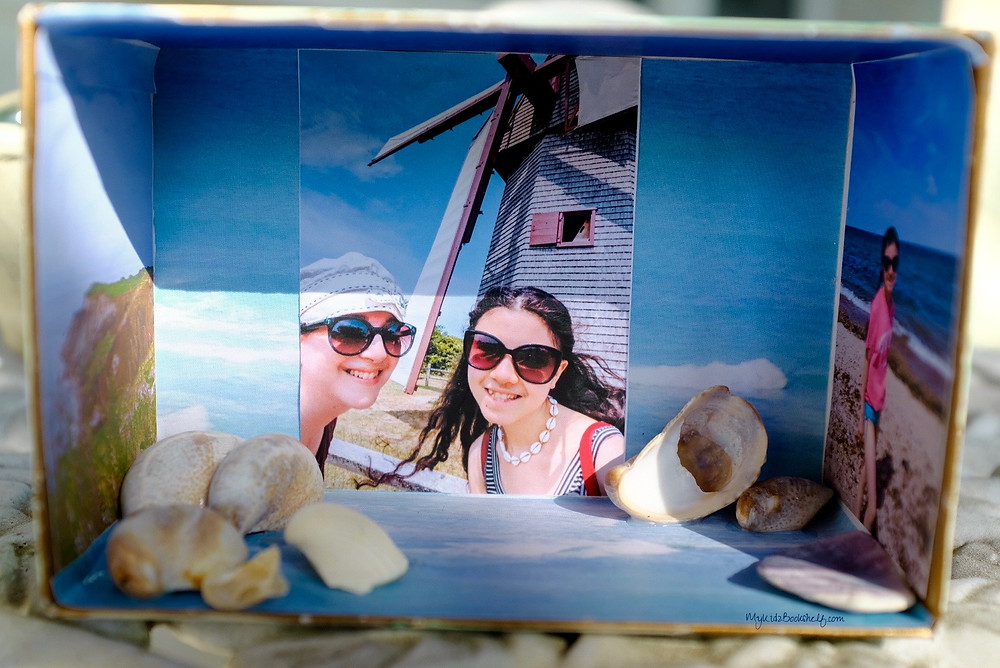 Stay Wavy craft and keepsake box inside shows photo of mom and daughter and seashells