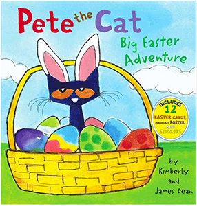 Pete the Cat Big Easter Adventure cat in Easter Basket surrounded by colorful eggs