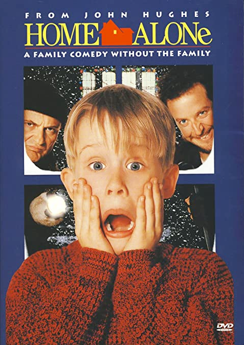 DVD cover for Christmas movie Home Alone with Kevin and the bandits on cover