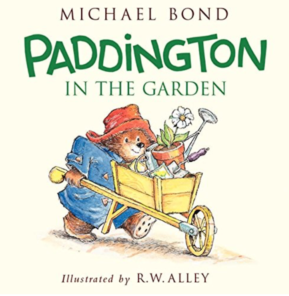 Paddington in the Garden picture book shows Paddington Bear pushing a wheelbarrow filled with a daisy and garden supplies