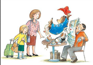 Paddington bear causing a kitchen disaster as Mr. and Mrs. Brown look on from Paddington stories