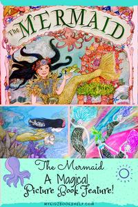 The Mermaid by Jan Brett pin by My Kidz Bookshelf with black-haired mermaid underwater