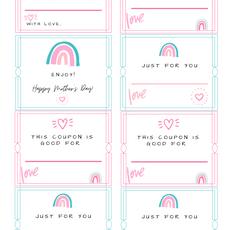 Mother's Day Coupon Rainbow Printable