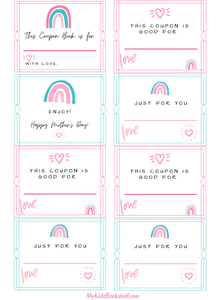Mother's Day coupon book printable with hearts and rainbows