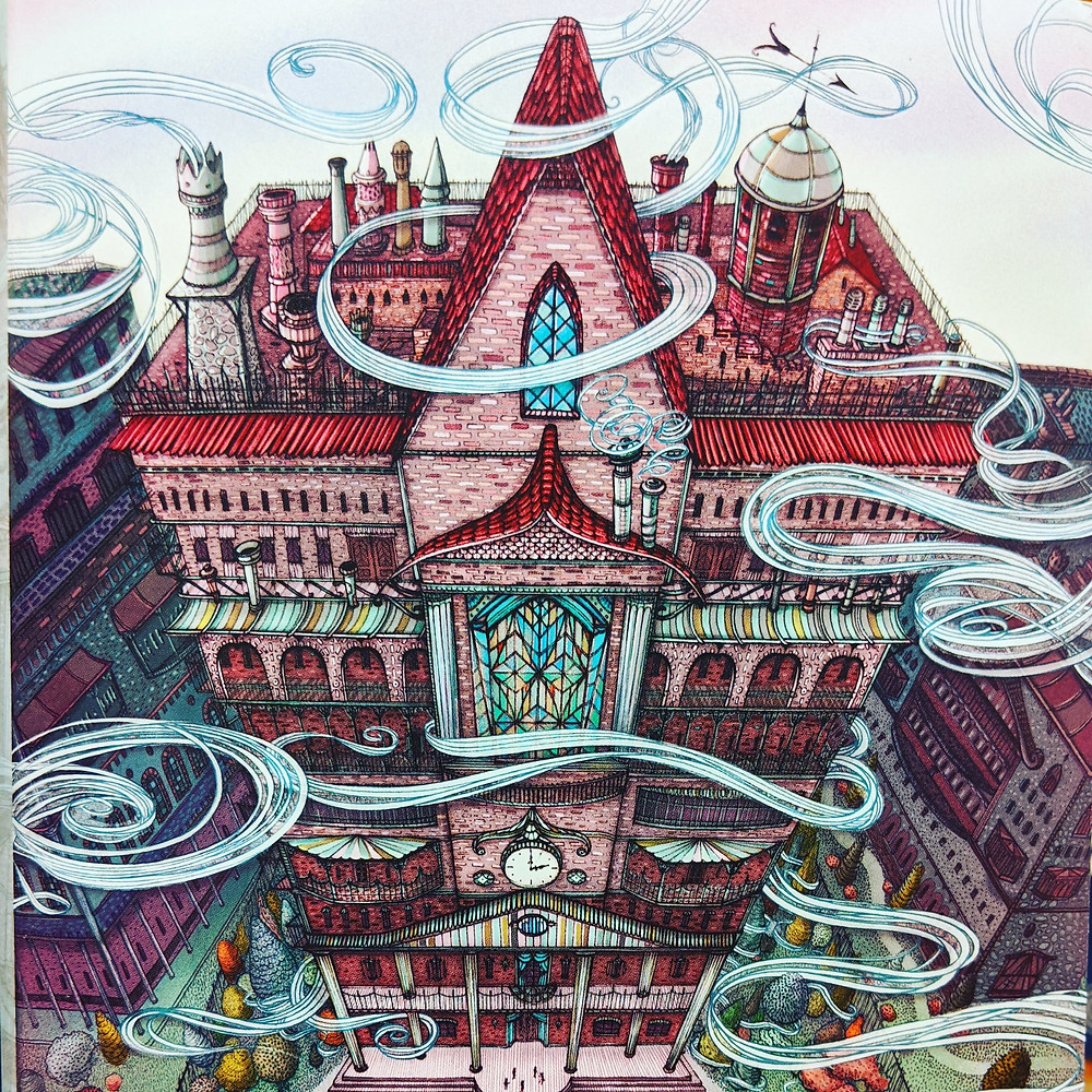 Book cover illustration of The Thief Knot by Kate Milford Picture of a mulitleveled victorian style house with many stained glass windows and wind whirling about