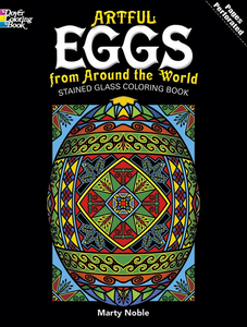 book cover Artful Eggs from Around the World shows coloring book version of egg