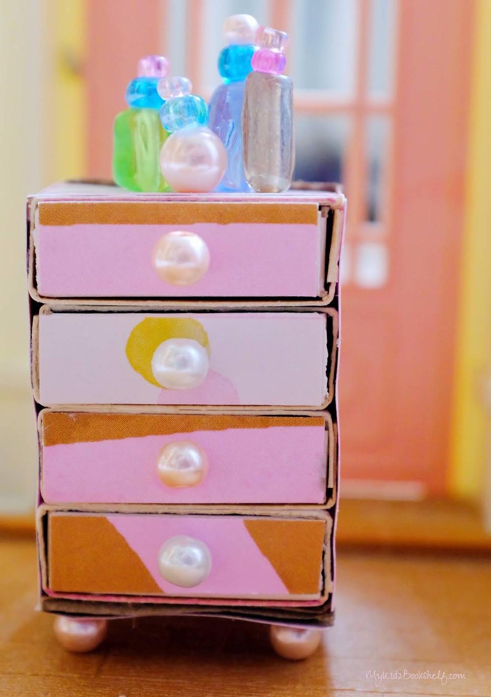 matchbox dresser diy miniature dresser with bottles made of glass beads