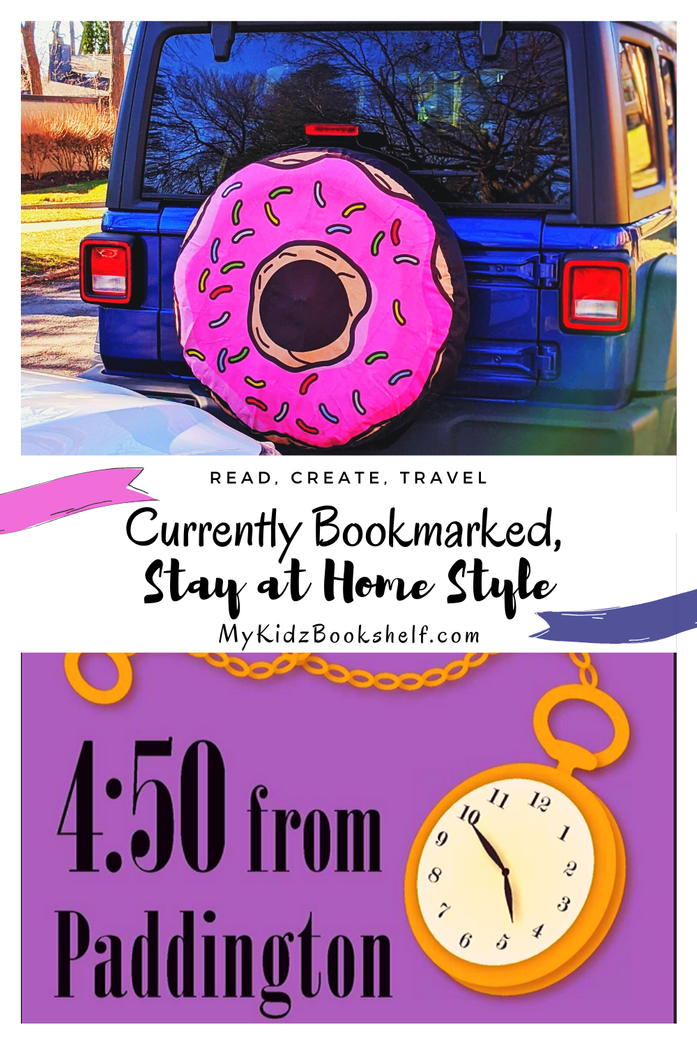 Pinterest pin for Currently Bookmarked Stay at Home Style with picture of Jeep and Agatha Christie's 4:50 From Paddington on the pin