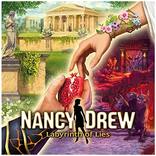Video game cover from Nancy Drew Labyrinth of Lies shows hand holding pomegranate with greek sculpture and buildings in background