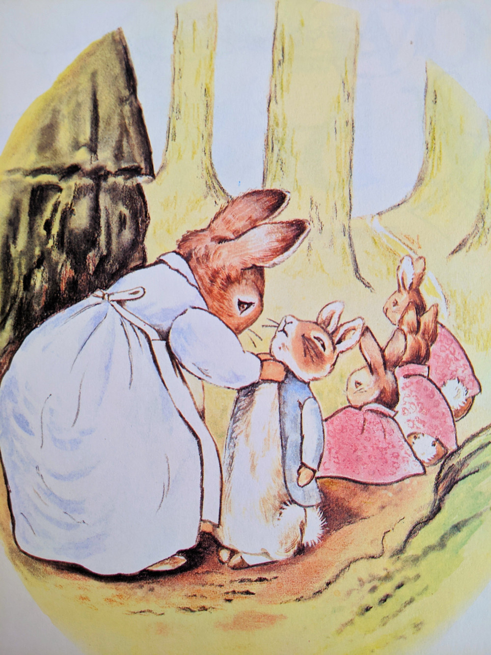 The Tale of Peter Rabbit by Beatrix Potter Peter' mom straightening bunny Peter's jacket with sisters behind him