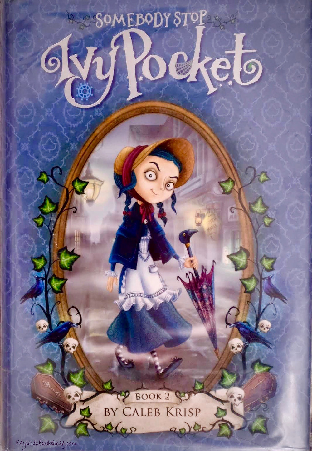 bookcover of Somebody Stop Ivy Pocket by Caleb Krisp shows girl in bonnett holding an umbrella