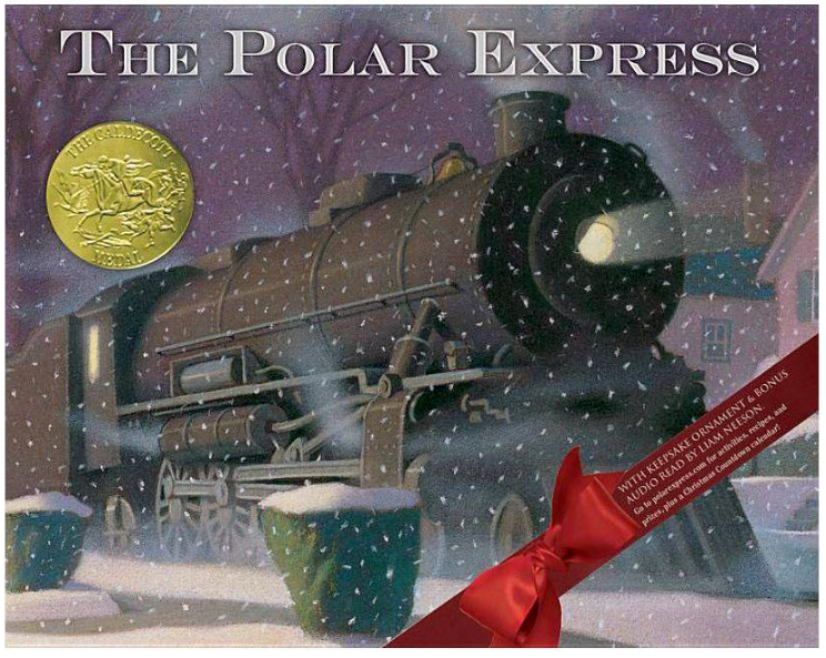 The Polar Express book by Chris Van Allsburg with train illustration and snow falling on cover