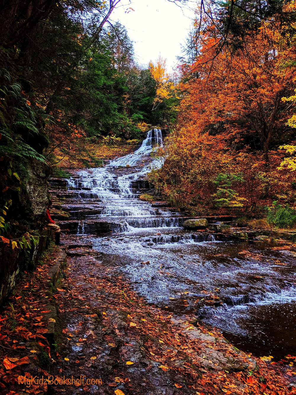 Waterfall during autumn with colorful leaves guy sitting by