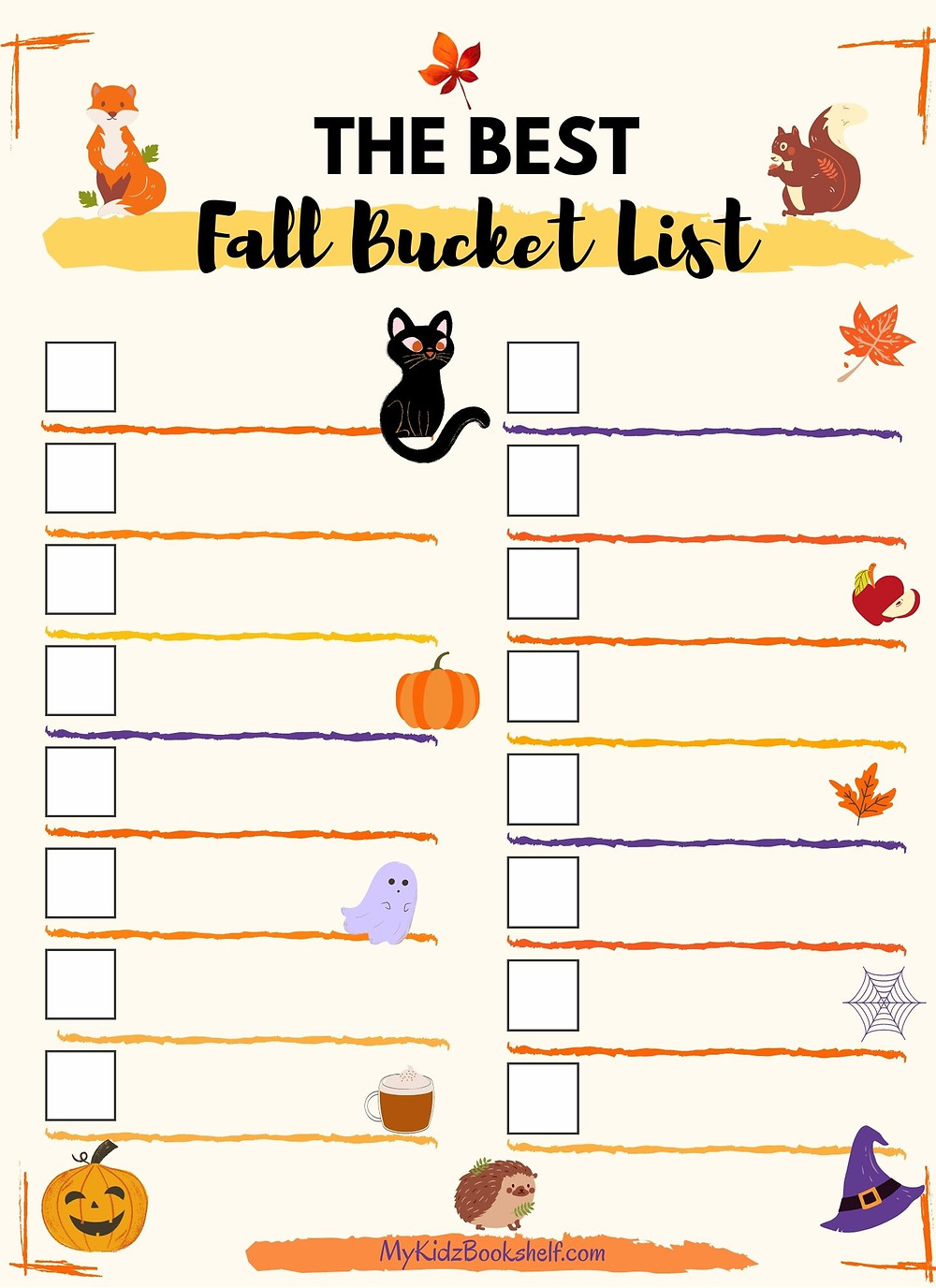 The Best Fall Bucket List fillable printable with black cat and boxes