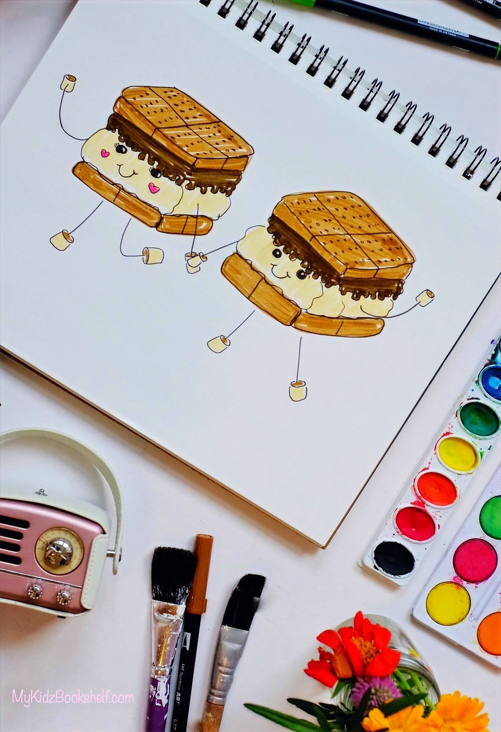 S'more friends illustration tutorial