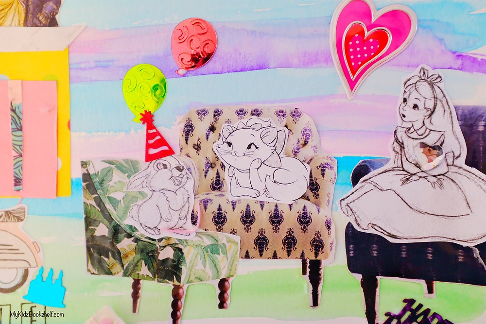 DIY collage with painted paper, magazine cutouts of chairs and Disney characters sitting chatting