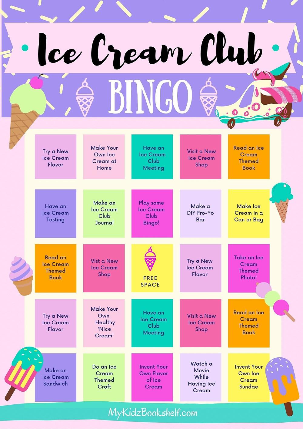Ice Cream Club BINGO card printable