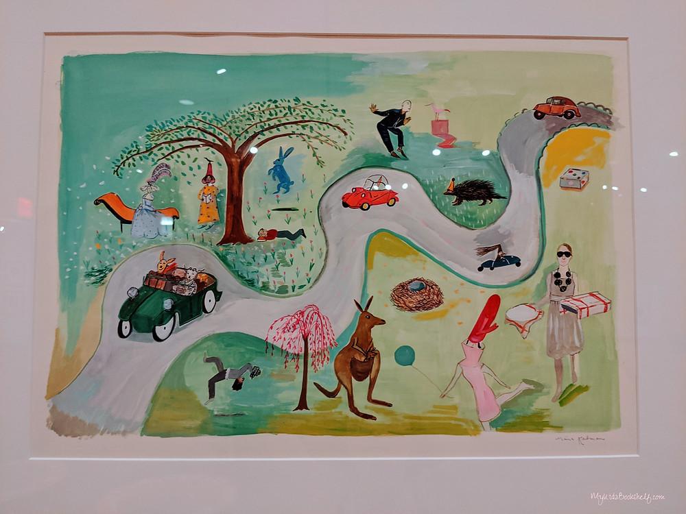 Maira Kalman illustration of cars on road