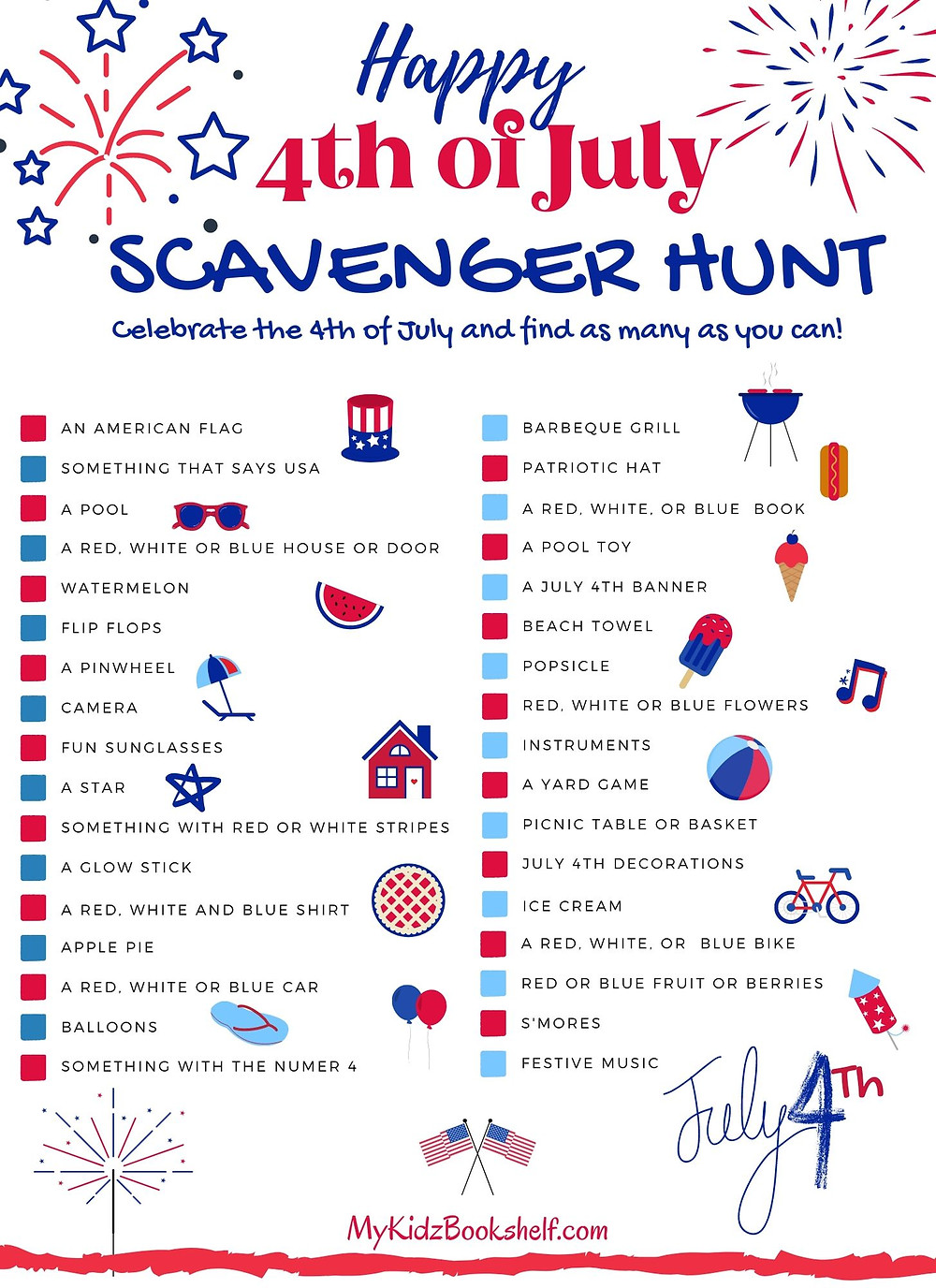 Happy 4th of July Scavenger Hunt Free Printable