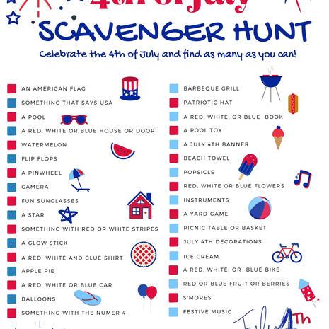July 4th Scavenger Hunt Printable