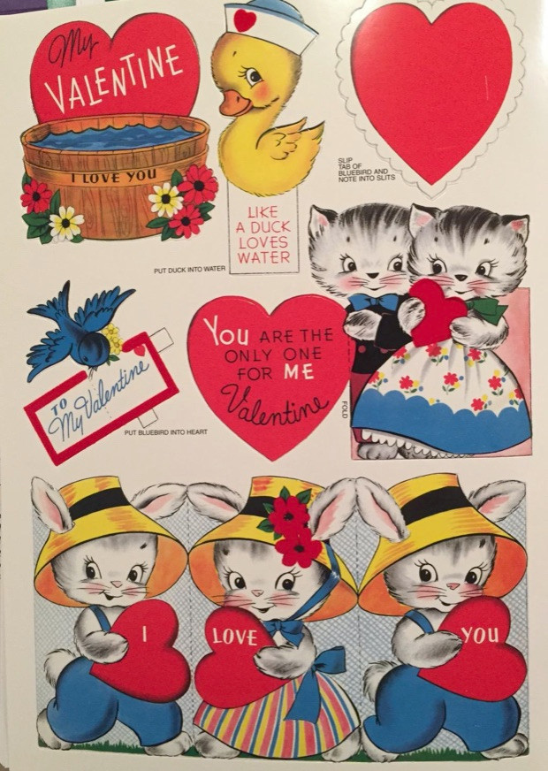 Vintage Valentines with duck, cats, hearts and barrel