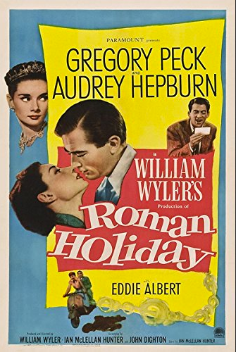 movie-poster-from-Roman-Holiday-movie-with-Gregory-Peck-kissing-Audrey-Hepburn
