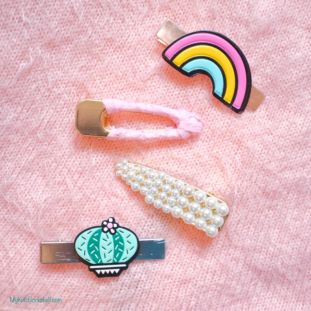 decorative hair clips with rainbow, pearls, cactus