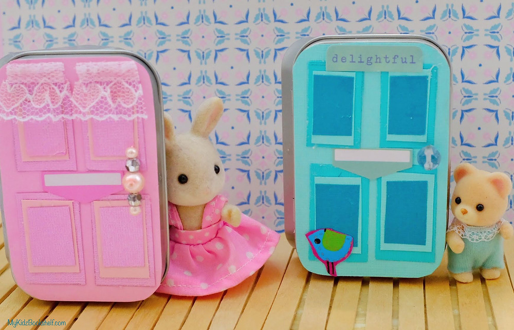 DIY - Make Your Own A-Door-Able Altoid Tin Craft for Kids of All Ages! With Sylvanian Families Calico Critter Bunny in dress and little baby bear