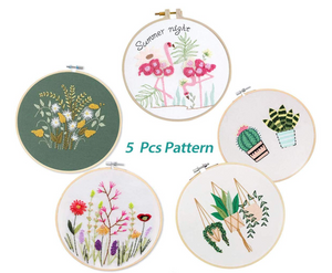 embroidery-samples-to-try-with-pink-flamingoes-flowers-hanging-planters-cacti-and-garden-flowers