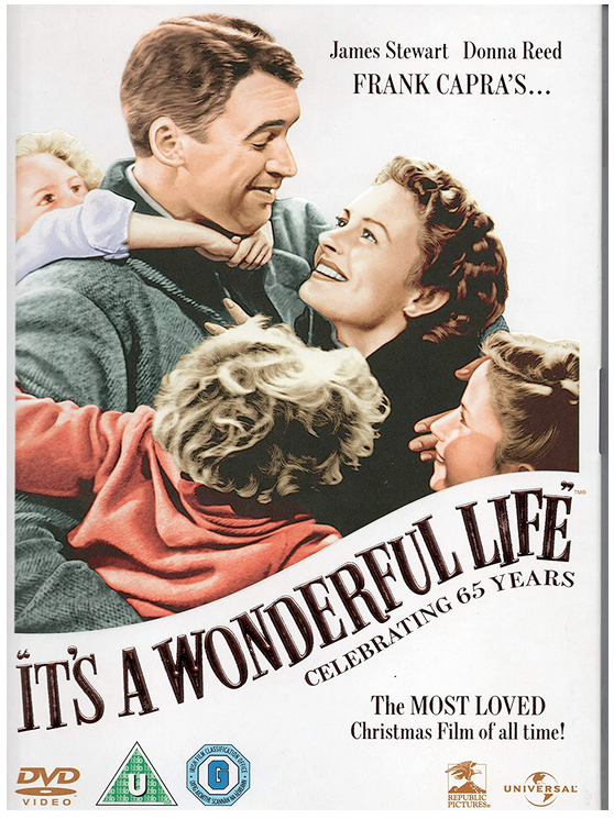 It's A Wonderful Life dvd cover with Jimmy Stewart and Donna Reed Christmas movie