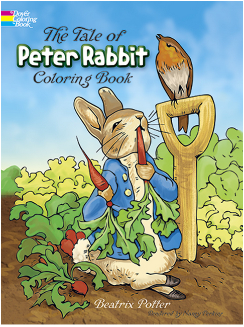 The Tale of Peter Rabbit by Beatrix Potter Coloring Book with Peter in the garden nibbling on a carrot with a bird next to him on shovel handle