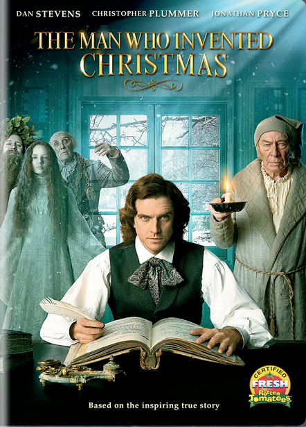 The Man Who Invented Christmas dvd cover with Christopher Plummer Scrooge