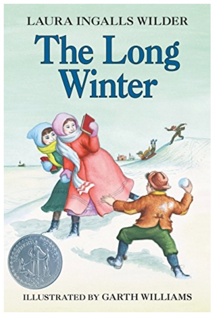 The Long Winter by Laura Ingalls Wilder book cover showing boy throwing snowball at two girls during pioneer time